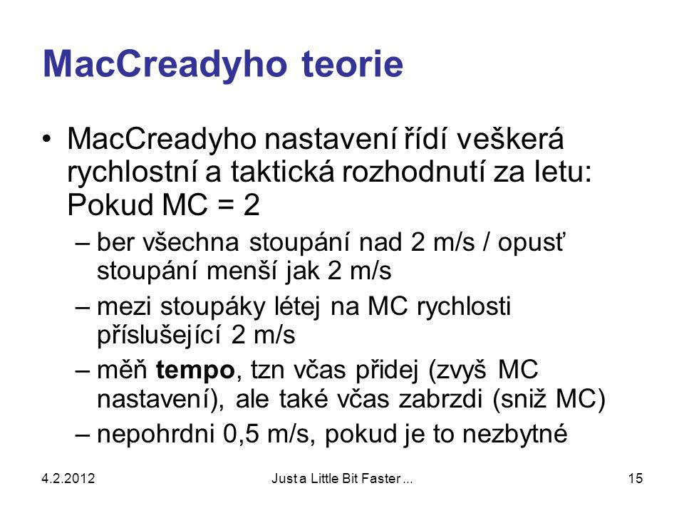 4.2.2012Just a Little Bit Faster...15 MacCreadyho teorie •MacCreadyho nastavení řídí veškerá rychlostní a taktická rozhodnutí za letu: Pokud MC = 2 –ber všechna stoupání nad 2 m/s / opusť stoupání menší jak 2 m/s –mezi stoupáky létej na MC rychlosti příslušející 2 m/s –měň tempo, tzn včas přidej (zvyš MC nastavení), ale také včas zabrzdi (sniž MC) –nepohrdni 0,5 m/s, pokud je to nezbytné