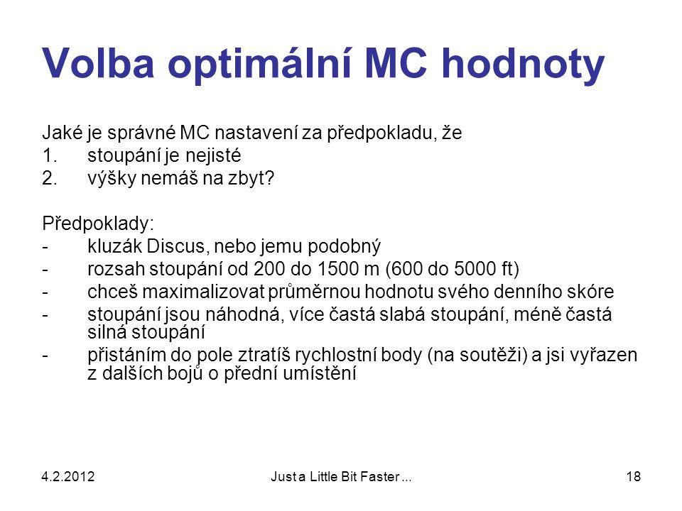 4.2.2012Just a Little Bit Faster...18 Volba optimální MC hodnoty Jaké je správné MC nastavení za předpokladu, že 1.stoupání je nejisté 2.výšky nemáš na zbyt.