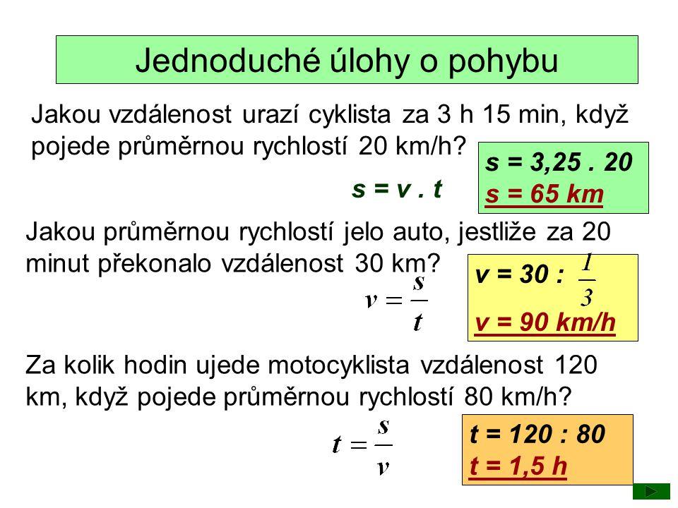 Jednoduché úlohy o pohybu Jakou vzdálenost urazí cyklista za 3 h 15 min, když pojede průměrnou rychlostí 20 km/h? s = 3,25. 20 s = 65 km Jakou průměrn