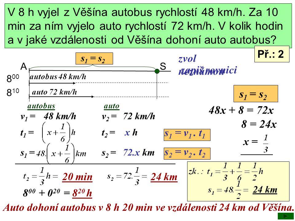 A s1s1 S = s 2 autobus 48 km/h auto 72 km/h 8 00 8 10 autobusauto v 1 =v 2 = t 1 = t 2 = s 1 =s 2 = x hx h 72.x km 48 km/h72 km/h zvol neznámou zapiš
