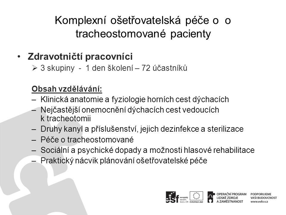 Komplexní ošetřovatelská péče o o tracheostomované pacienty •Zdravotničtí pracovníci  3 skupiny - 1 den školení – 72 účastníků Obsah vzdělávání: –Kli