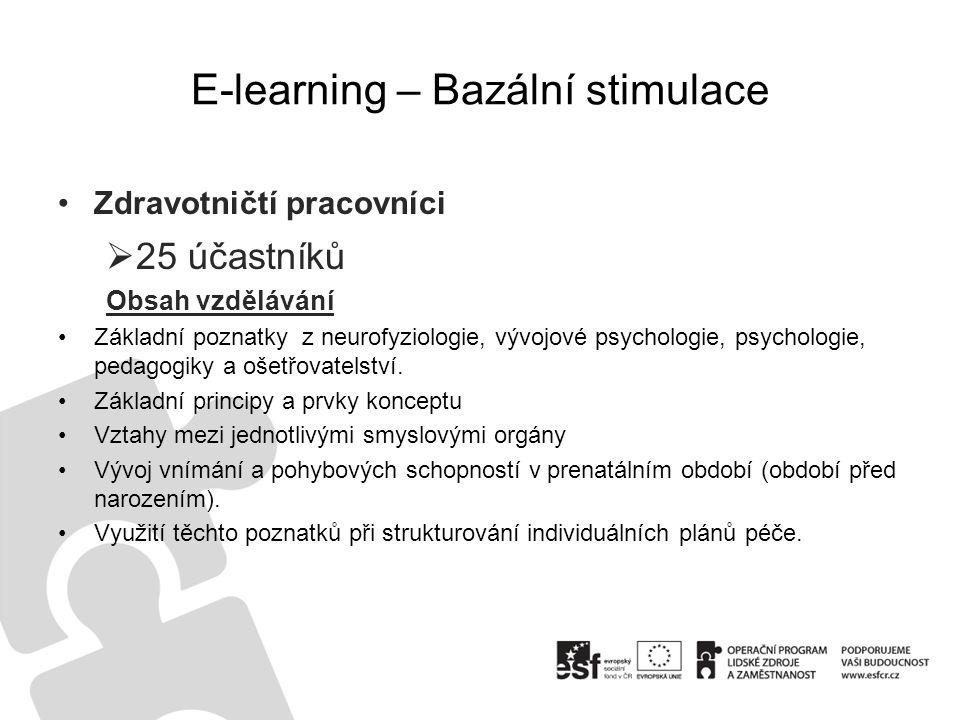 E-learning – Bazální stimulace •Zdravotničtí pracovníci  25 účastníků Obsah vzdělávání •Základní poznatky z neurofyziologie, vývojové psychologie, ps