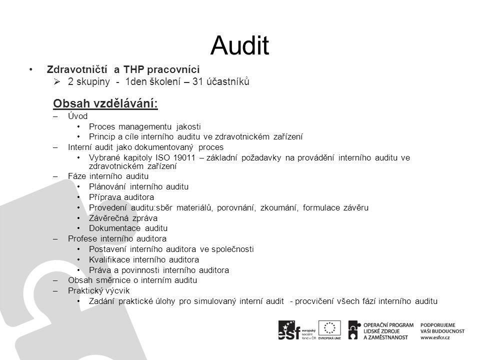 •Zdravotničtí a THP pracovníci  2 skupiny - 1den školení – 31 účastníků Obsah vzdělávání: –Úvod •Proces managementu jakosti •Princip a cíle interního