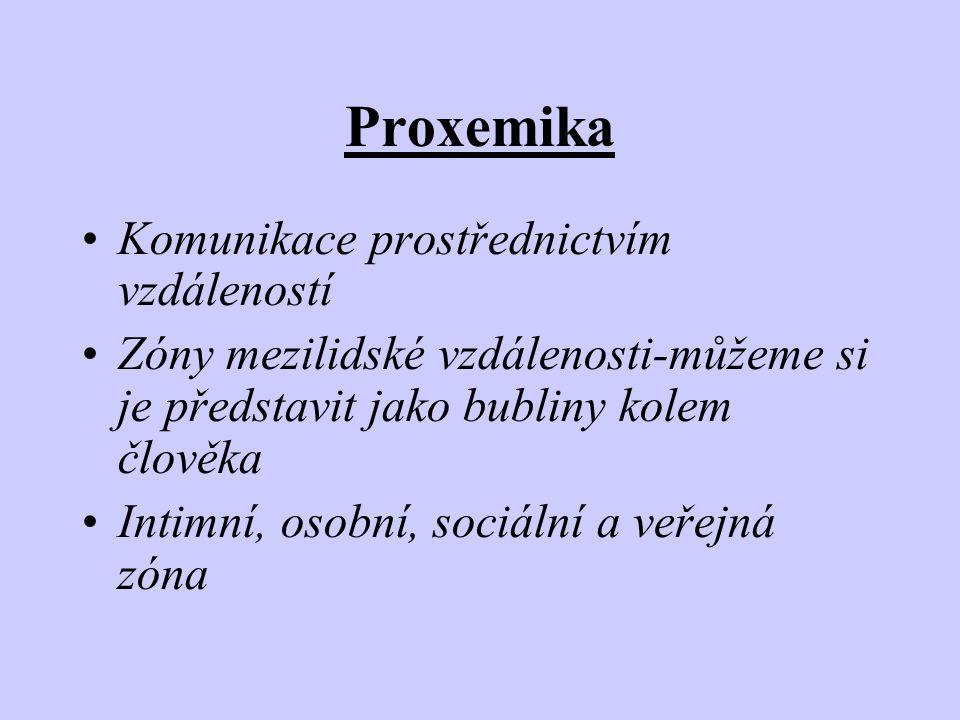 Proxemika •Komunikace prostřednictvím vzdáleností •Zóny mezilidské vzdálenosti-můžeme si je představit jako bubliny kolem člověka •Intimní, osobní, so