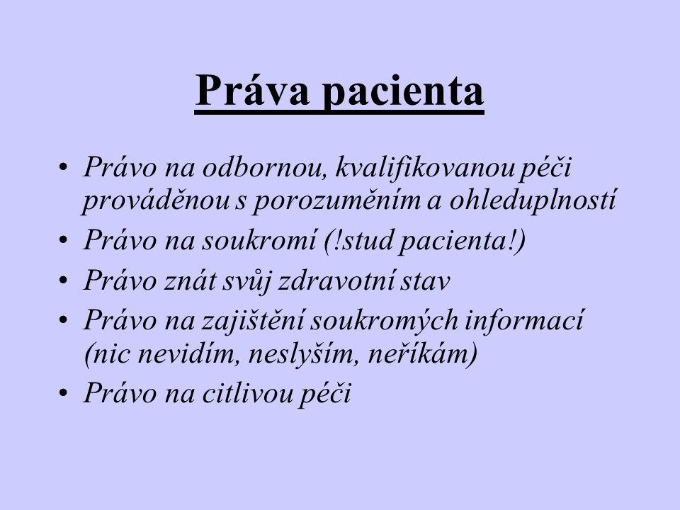 Práva pacienta •Právo na odbornou, kvalifikovanou péči prováděnou s porozuměním a ohleduplností •Právo na soukromí (!stud pacienta!) •Právo znát svůj