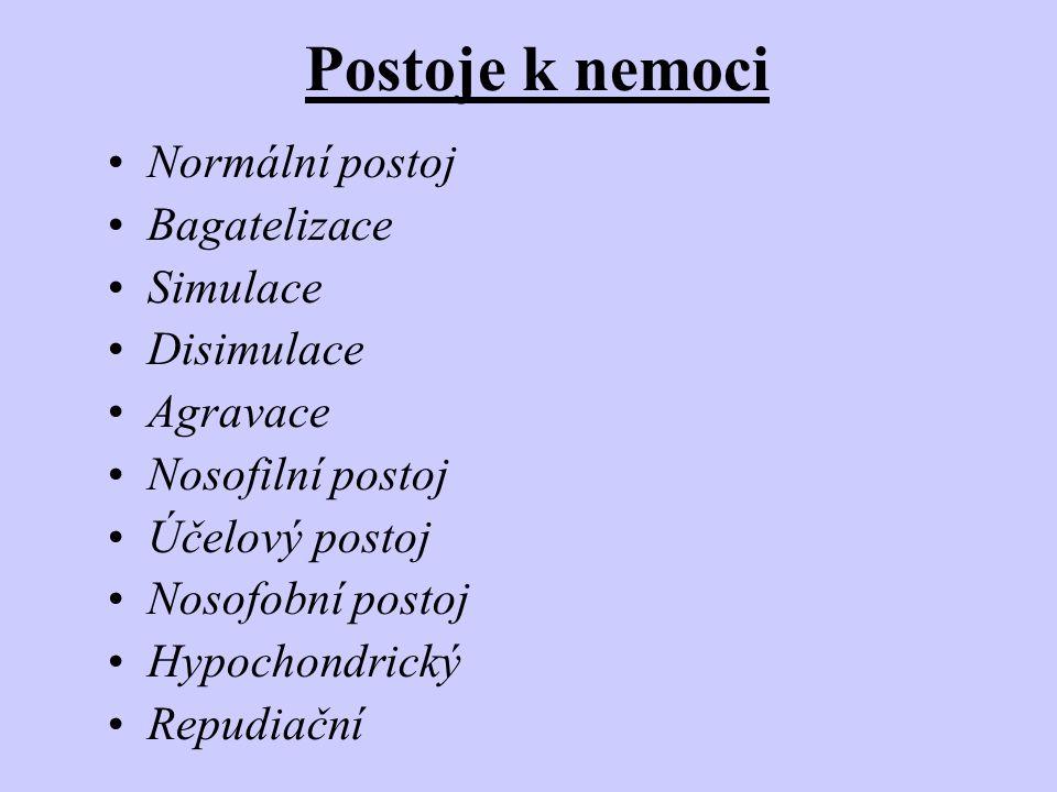 Postoje k nemoci •Normální postoj •Bagatelizace •Simulace •Disimulace •Agravace •Nosofilní postoj •Účelový postoj •Nosofobní postoj •Hypochondrický •R