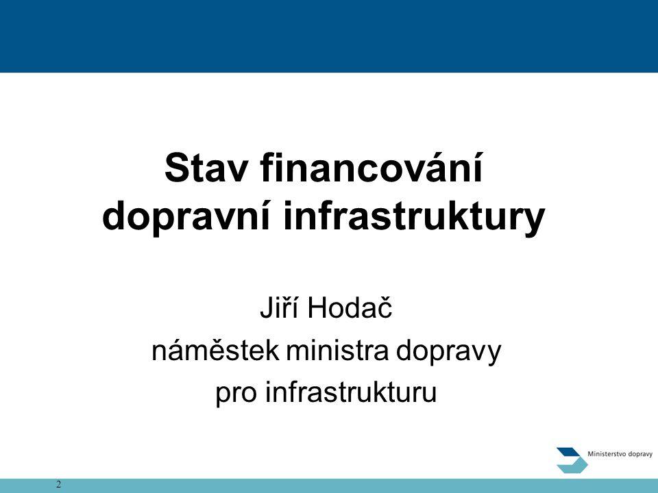 2 Zpoplatnění dálnic a rychlostních silnic Stav financování dopravní infrastruktury Jiří Hodač náměstek ministra dopravy pro infrastrukturu