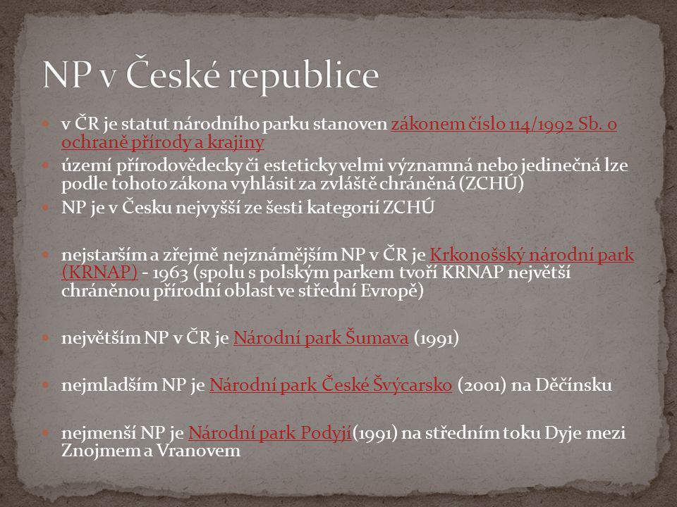  v ČR je statut národního parku stanoven zákonem číslo 114/1992 Sb. o ochraně přírody a krajinyzákonem číslo 114/1992 Sb. o ochraně přírody a krajiny