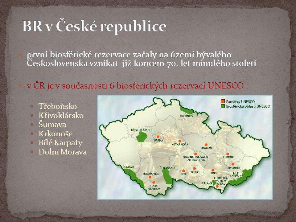  první biosférické rezervace začaly na území bývalého Československa vznikat již koncem 70. let minulého století  v ČR je v současnosti 6 biosferick