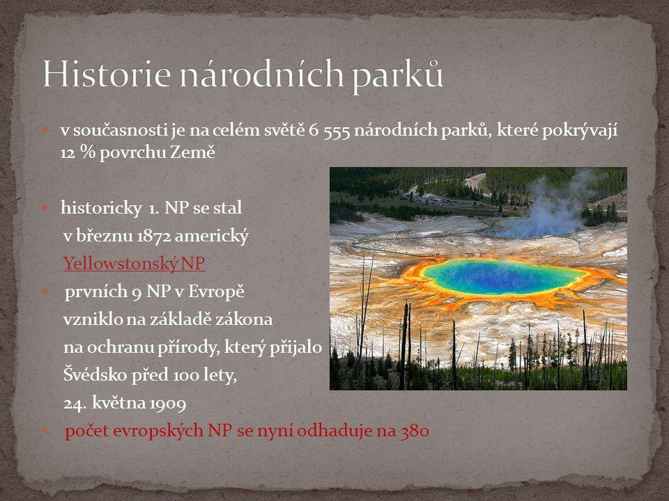  v současnosti je na celém světě 6 555 národních parků, které pokrývají 12 % povrchu Země  historicky 1. NP se stal v březnu 1872 americký Yellowsto