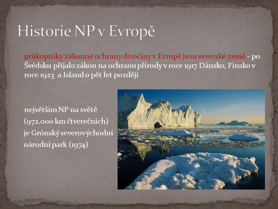  průkopníky zákonné ochrany divočiny v Evropě jsou severské země - po Švédsku přijalo zákon na ochranu přírody v roce 1917 Dánsko, Finsko v roce 1923