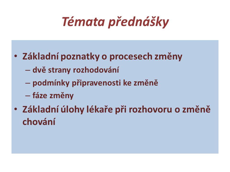 Témata přednášky • Základní poznatky o procesech změny – dvě strany rozhodování – podmínky připravenosti ke změně – fáze změny • Základní úlohy lékaře