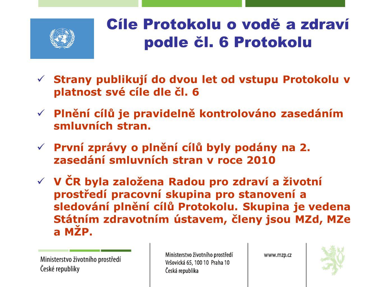 Cíle Protokolu o vodě a zdraví podle čl. 6 Protokolu  Strany publikují do dvou let od vstupu Protokolu v platnost své cíle dle čl. 6  Plnění cílů je