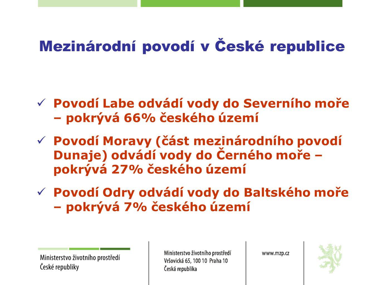Mezinárodní povodí v České republice  Povodí Labe odvádí vody do Severního moře – pokrývá 66% českého území  Povodí Moravy (část mezinárodního povod