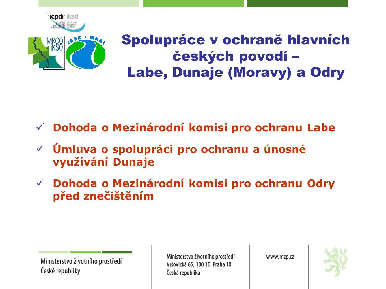 Spolupráce v ochraně hlavních českých povodí – Labe, Dunaje (Moravy) a Odry  Dohoda o Mezinárodní komisi pro ochranu Labe  Úmluva o spolupráci pro o