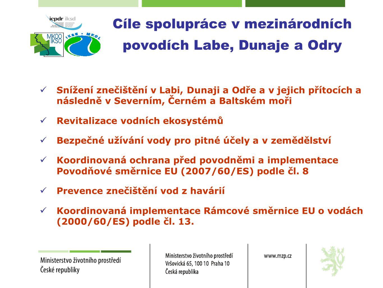 Cíle spolupráce v mezinárodních povodích Labe, Dunaje a Odry  Snížení znečištění v Labi, Dunaji a Odře a v jejich přítocích a následně v Severním, Če
