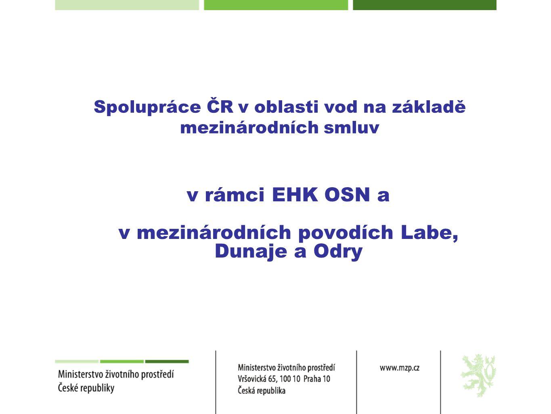 Tři úrovně mezinárodní spolupráce •Spolupráce na úrovni EHK OSN •Spolupráce v mezinárodních povodích Labe, Dunaje a Odry •Bilaterální spolupráce na hraničních vodách se sousedními státy