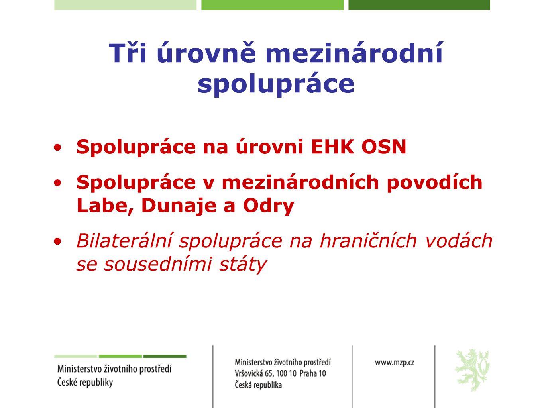 Tři úrovně mezinárodní spolupráce •Spolupráce na úrovni EHK OSN •Spolupráce v mezinárodních povodích Labe, Dunaje a Odry •Bilaterální spolupráce na hr