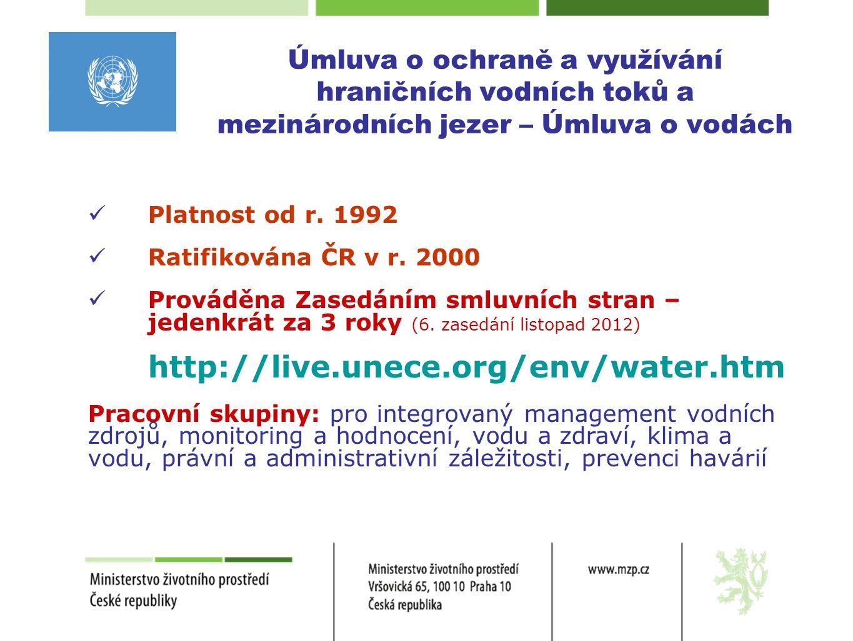 Cíle Úmluvy o vodách  Integrovaný management vodních zdrojů a souvisejících ekosystémů v ucelených povodích  Monitoring a hodnocení vody a jejích ekosystémů  Ochrana před povodněmi a adaptace na změnu klimatu  Voda a lidské zdraví  Ochrana před znečištěním z průmyslových havárií  Podpora mezinárodní spolupráce v ucelených povodích a na hraničních vodách