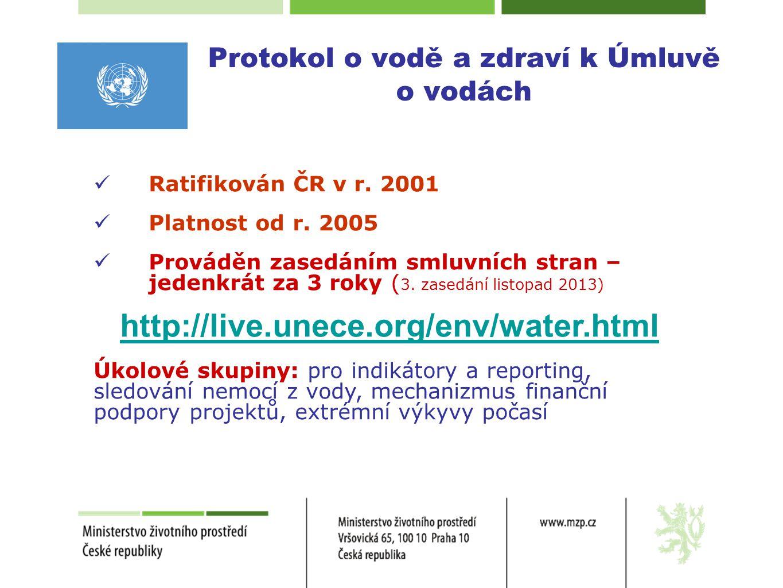 Protokol o vodě a zdraví k Úmluvě o vodách  Ratifikován ČR v r. 2001  Platnost od r. 2005  Prováděn zasedáním smluvních stran – jedenkrát za 3 roky