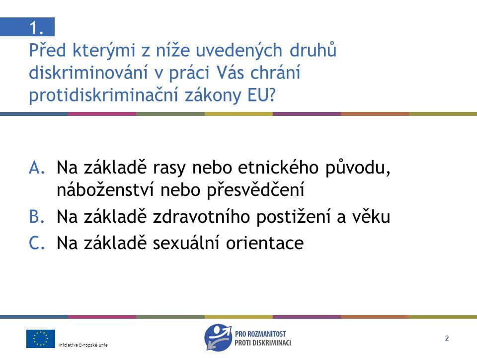 Iniciativa Evropské unie 13 Odpověď: C Závisí to na tom, jestli se jeho zaměstnavatel snažil nalézt řešení Diskriminace někoho v práci z důvodu jeho/jejího zdravotního postižení je podle zákona EU protizákonná.