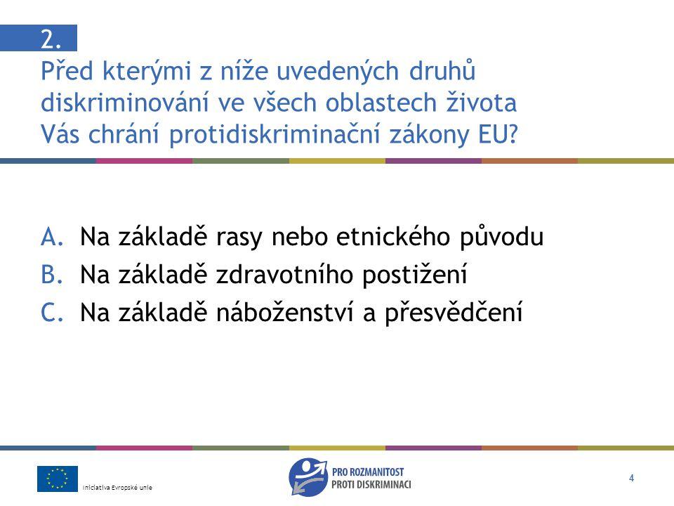Iniciativa Evropské unie 15 Odpověď: B Ano, je s ní nespravedlivě zacházeno Diskriminace v zaměstnání na základě něčího náboženství je podle zákona EU (Směrnice o rovnosti v zaměstnání) protizákonná.