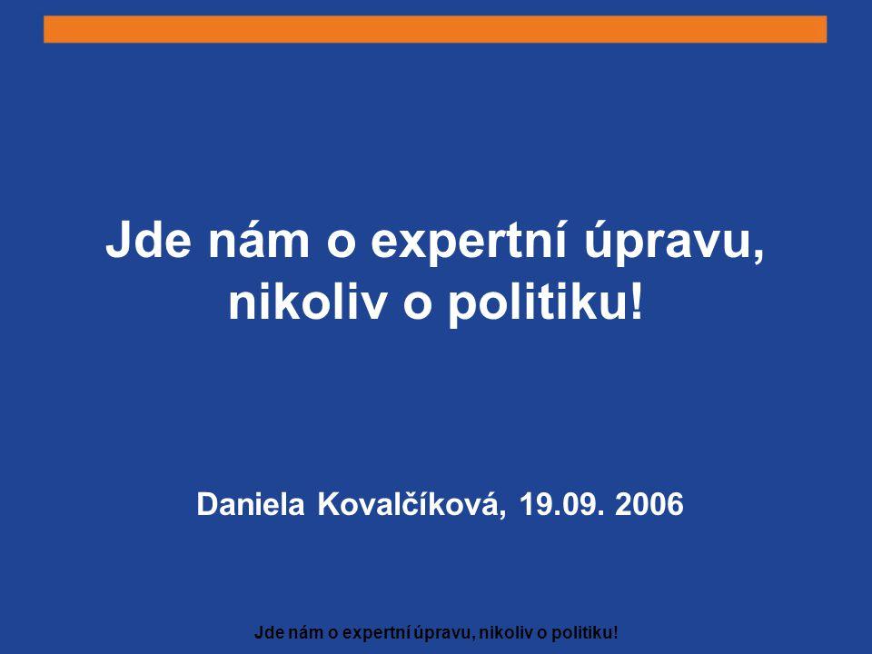 Jde nám o expertní úpravu, nikoliv o politiku! Daniela Kovalčíková, 19.09. 2006
