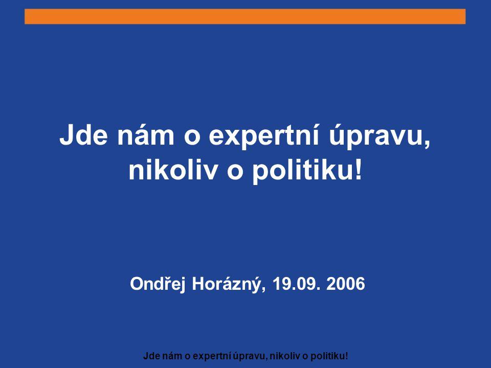 Jde nám o expertní úpravu, nikoliv o politiku! Ondřej Horázný, 19.09. 2006