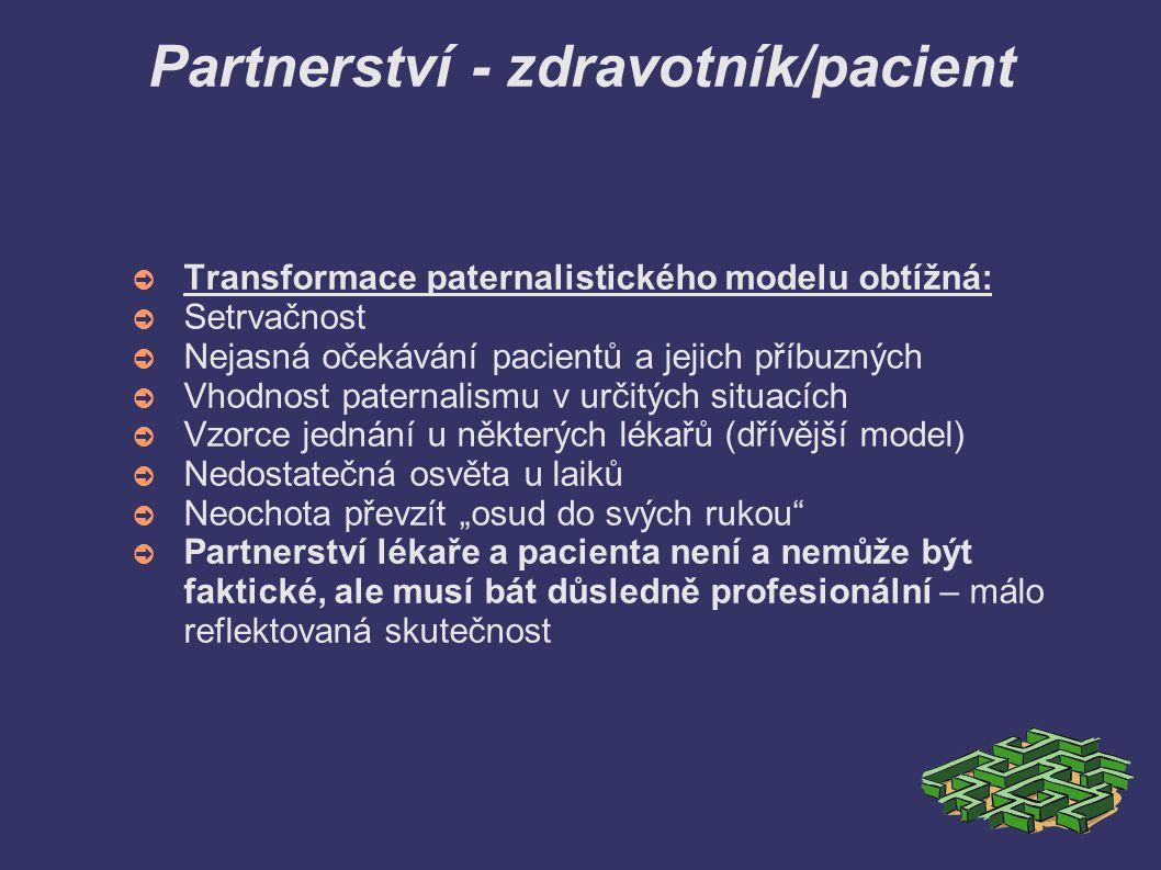Partnerství - zdravotník/pacient ➲ Transformace paternalistického modelu obtížná: ➲ Setrvačnost ➲ Nejasná očekávání pacientů a jejich příbuzných ➲ Vho