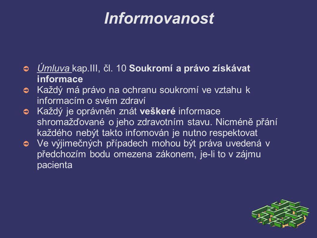 Informovanost ➲ Úmluva kap.III, čl. 10 Soukromí a právo získávat informace ➲ Každý má právo na ochranu soukromí ve vztahu k informacím o svém zdraví ➲