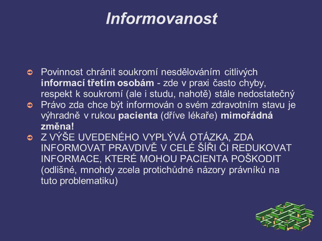 Informovanost ➲ Povinnost chránit soukromí nesdělováním citlivých informací třetím osobám - zde v praxi často chyby, respekt k soukromí (ale i studu,