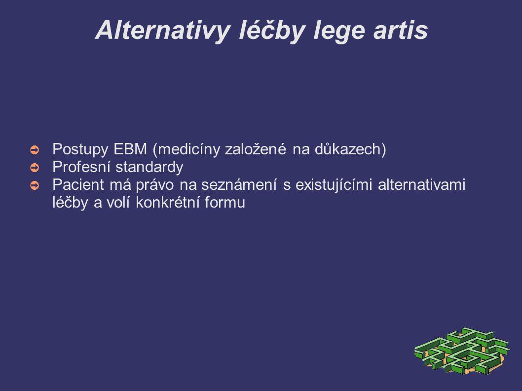 Alternativy léčby lege artis ➲ Postupy EBM (medicíny založené na důkazech) ➲ Profesní standardy ➲ Pacient má právo na seznámení s existujícími alterna