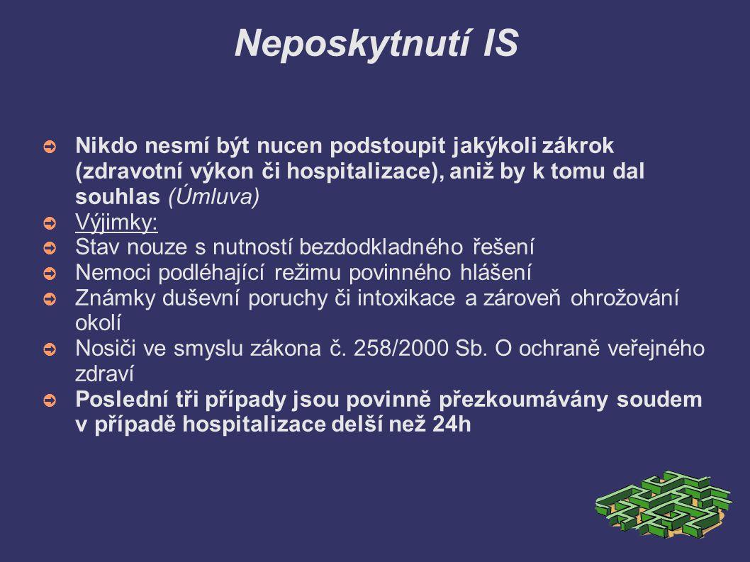 Neposkytnutí IS ➲ Nikdo nesmí být nucen podstoupit jakýkoli zákrok (zdravotní výkon či hospitalizace), aniž by k tomu dal souhlas (Úmluva) ➲ Výjimky: