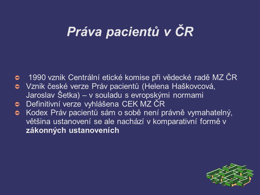 Český kodex Práv pacientů ➲ Pacient má právo získat od svého lékaře údaje potřebné k tomu, aby mohl před zahájením každého dalšího nového diagnostického nebo terapeutického postupu zasvěceně rozhodnout, zda s ním souhlasí.