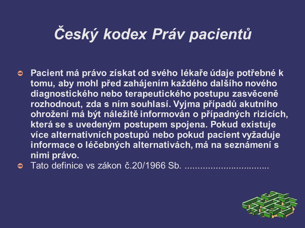 Český kodex Práv pacientů ➲ Pacient má právo získat od svého lékaře údaje potřebné k tomu, aby mohl před zahájením každého dalšího nového diagnostické