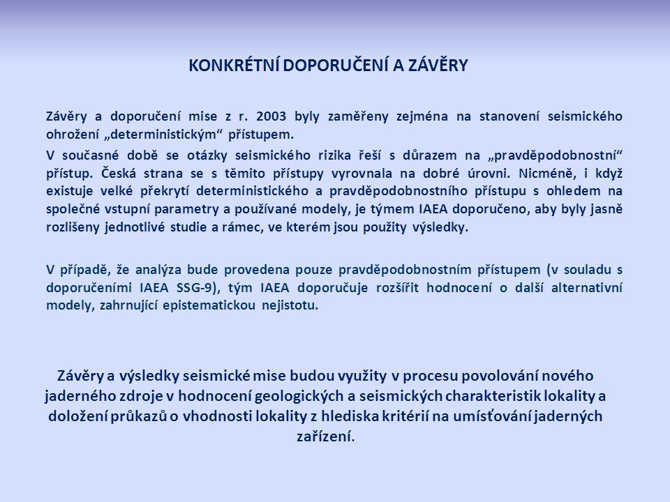 Závěry a doporučení mise z r.