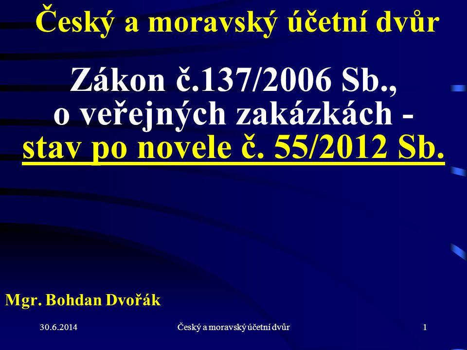 30.6.2014Český a moravský účetní dvůr22 Změny lhůt pro veřejného zadavatele - § 40 (2) Pokud je oznámení zadávacího řízení odesláno elektronickými prostředky (§ 149), je veřejný zadavatel oprávněn zkrátit o a) 7 dnů lhůty podle § 39 odst.
