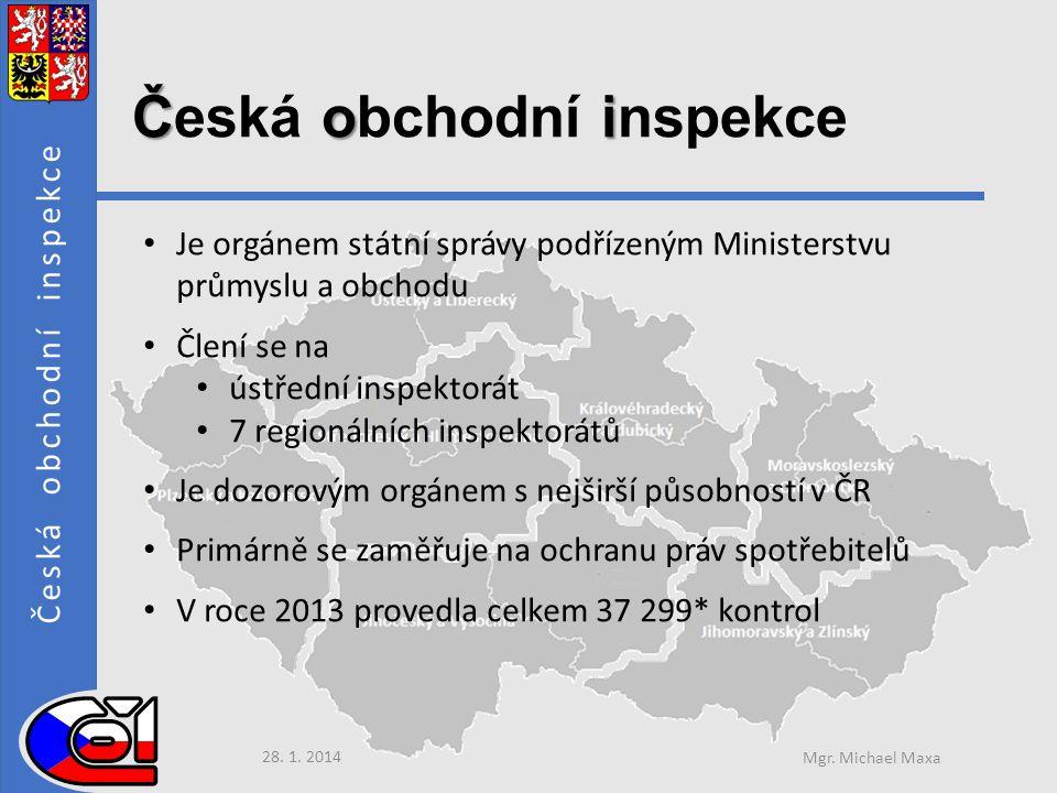 Česká obchodní inspekce Čoi Česká obchodní inspekce • Je orgánem státní správy podřízeným Ministerstvu průmyslu a obchodu • Člení se na • ústřední inspektorát • 7 regionálních inspektorátů • Je dozorovým orgánem s nejširší působností v ČR • Primárně se zaměřuje na ochranu práv spotřebitelů • V roce 2013 provedla celkem 37 299* kontrol 28.