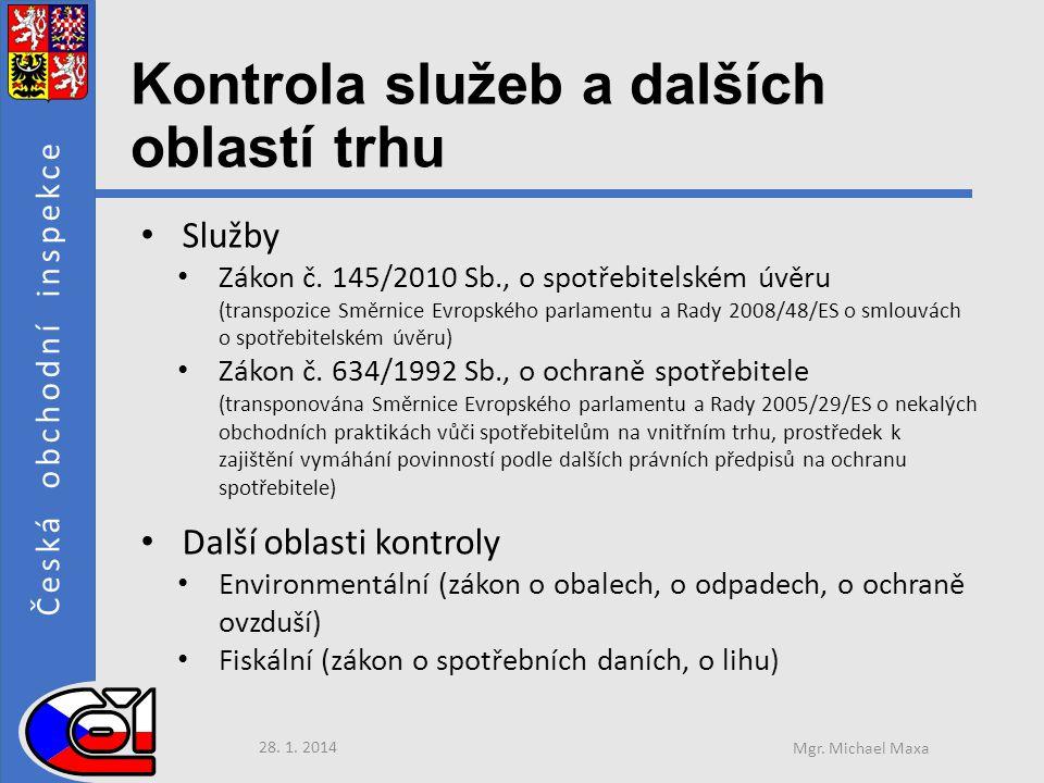 Česká obchodní inspekce Kontrola služeb a dalších oblastí trhu • Služby • Zákon č.