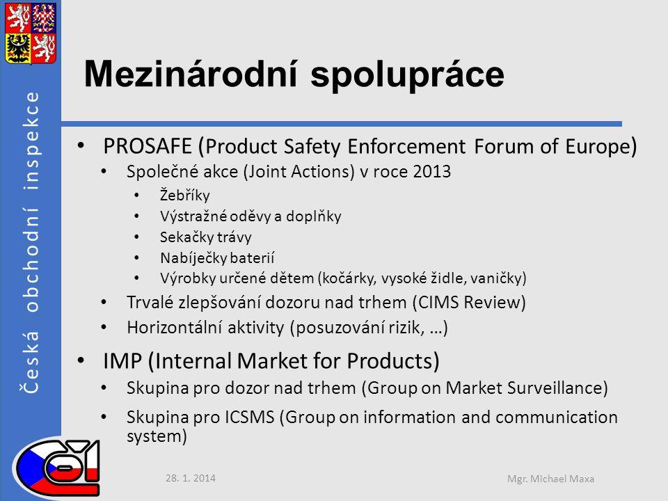 Česká obchodní inspekce Mezinárodní spolupráce • PROSAFE ( Product Safety Enforcement Forum of Europe ) • Společné akce (Joint Actions) v roce 2013 • Žebříky • Výstražné oděvy a doplňky • Sekačky trávy • Nabíječky baterií • Výrobky určené dětem (kočárky, vysoké židle, vaničky) • Trvalé zlepšování dozoru nad trhem (CIMS Review) • Horizontální aktivity (posuzování rizik, …) • IMP (Internal Market for Products) • Skupina pro dozor nad trhem (Group on Market Surveillance) • Skupina pro ICSMS (Group on information and communication system) 28.