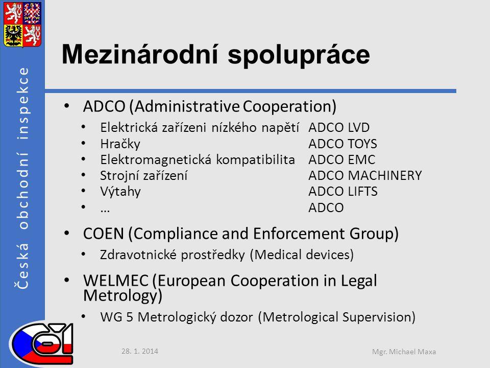 Česká obchodní inspekce Mezinárodní spolupráce • ADCO (Administrative Cooperation) • Elektrická zařízeni nízkého napětí ADCO LVD • Hračky ADCO TOYS • Elektromagnetická kompatibilita ADCO EMC • Strojní zařízení ADCO MACHINERY • Výtahy ADCO LIFTS • … ADCO • COEN (Compliance and Enforcement Group) • Zdravotnické prostředky (Medical devices) • WELMEC (European Cooperation in Legal Metrology) • WG 5 Metrologický dozor (Metrological Supervision) 28.