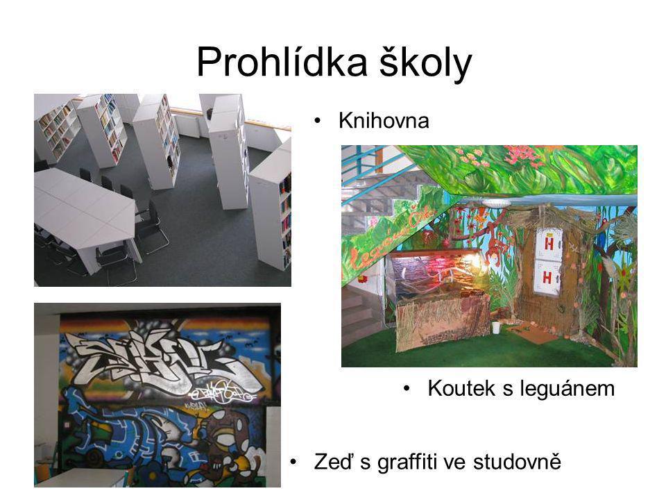Prohlídka školy •Koutek s leguánem •Knihovna •Zeď s graffiti ve studovně