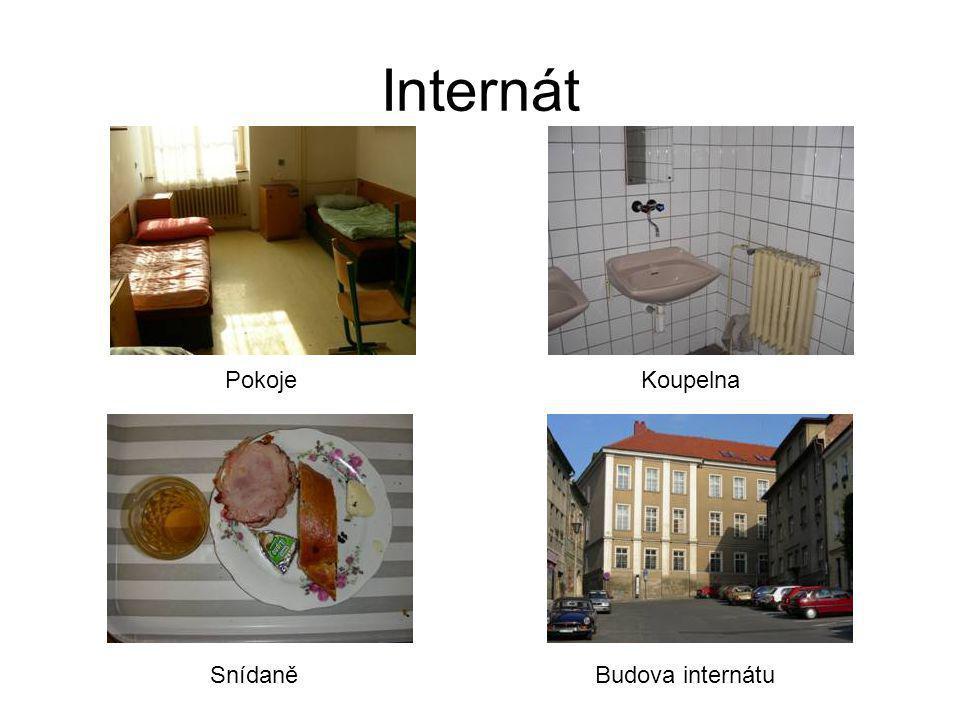 Internát Budova internátu KoupelnaPokoje Snídaně