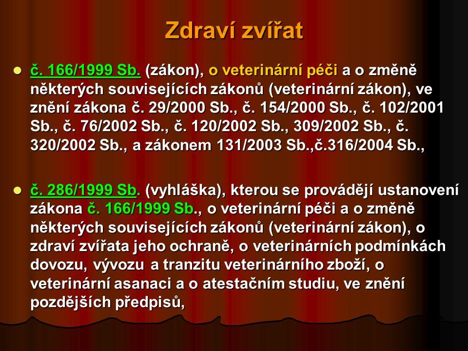 Zdraví zvířat  č.166/1999 Sb.