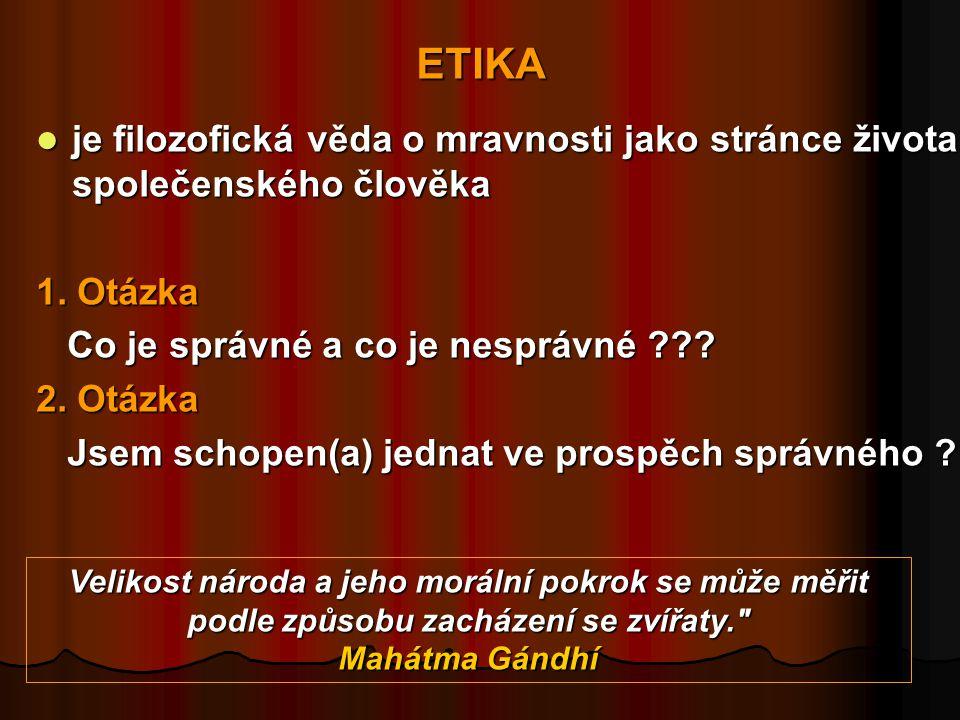 ETIKA  je filozofická věda o mravnosti jako stránce života společenského člověka 1.