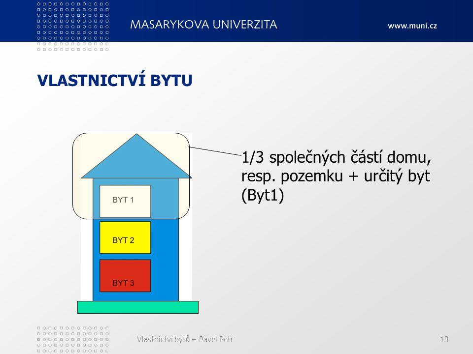Vlastnictví bytů – Pavel Petr13 VLASTNICTVÍ BYTU 1/3 společných částí domu, resp.