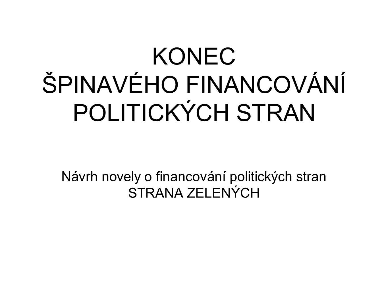 KONEC ŠPINAVÉHO FINANCOVÁNÍ POLITICKÝCH STRAN Návrh novely o financování politických stran STRANA ZELENÝCH