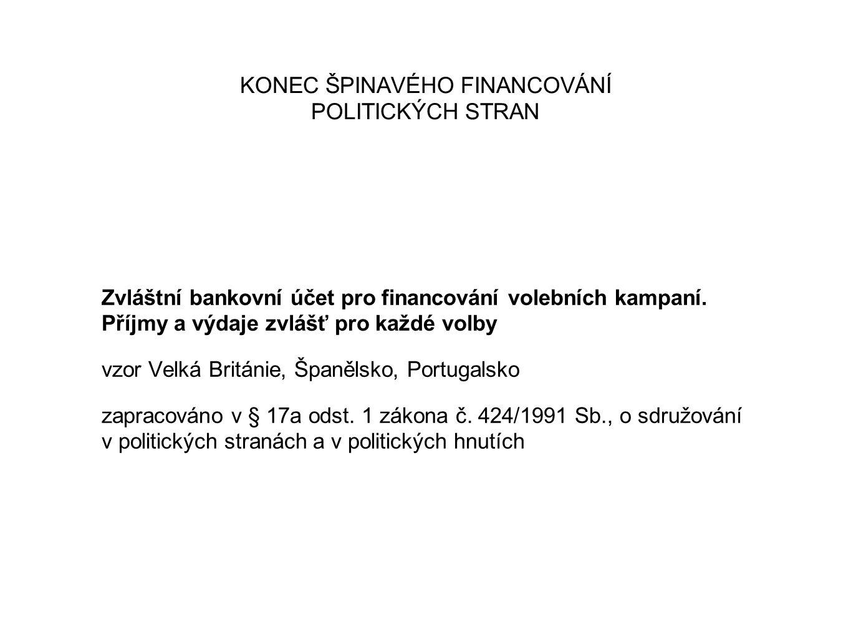 KONEC ŠPINAVÉHO FINANCOVÁNÍ POLITICKÝCH STRAN Zvláštní bankovní účet pro financování volebních kampaní. Příjmy a výdaje zvlášť pro každé volby vzor Ve