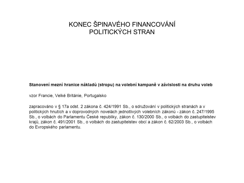 KONEC ŠPINAVÉHO FINANCOVÁNÍ POLITICKÝCH STRAN Stanovení mezní hranice nákladů (stropu) na volební kampaně v závislosti na druhu voleb vzor Francie, Velké Británie, Portugalsko zapracováno v § 17a odst.