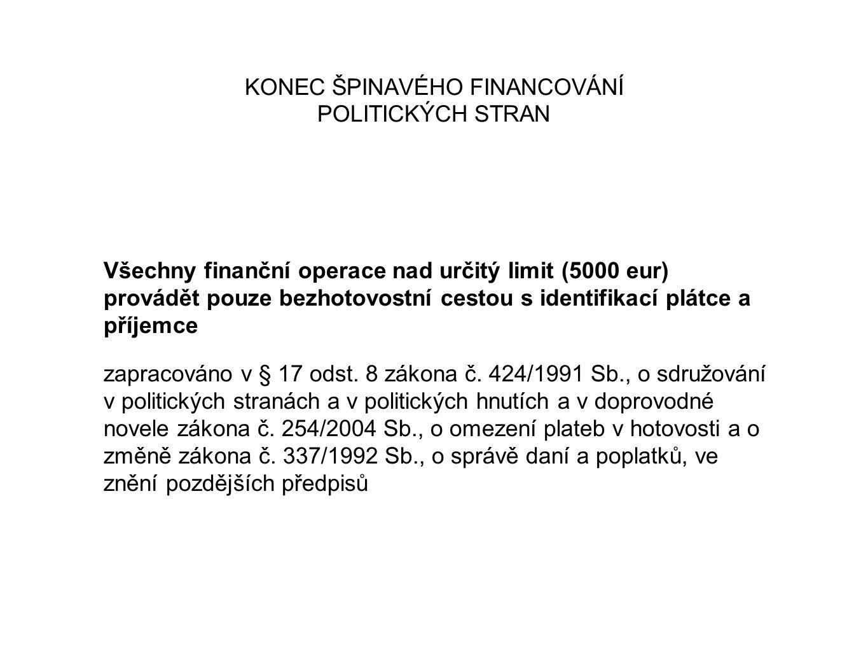 KONEC ŠPINAVÉHO FINANCOVÁNÍ POLITICKÝCH STRAN Všechny finanční operace nad určitý limit (5000 eur) provádět pouze bezhotovostní cestou s identifikací plátce a příjemce zapracováno v § 17 odst.